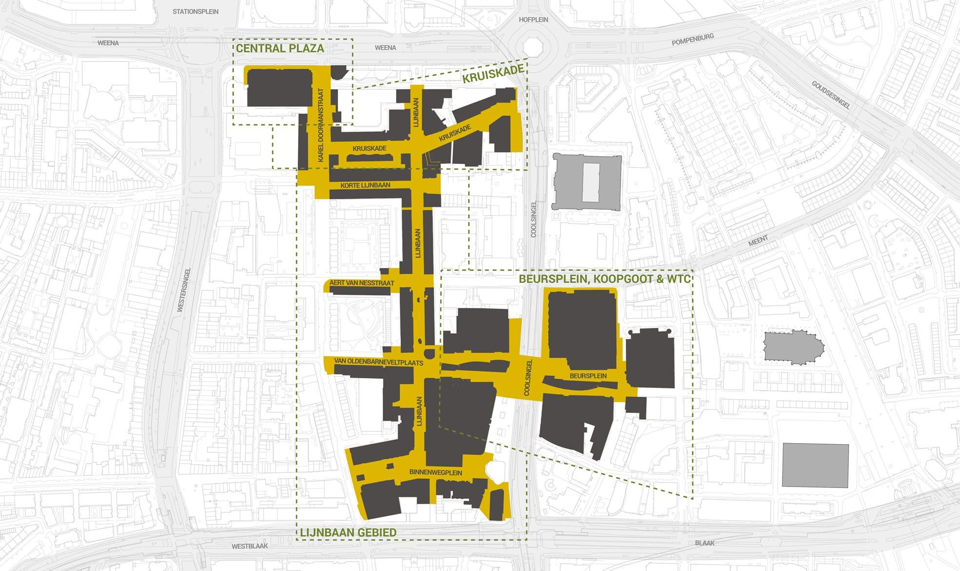 Kaart van het kernwinkelgebied van Rotterdam Centrum