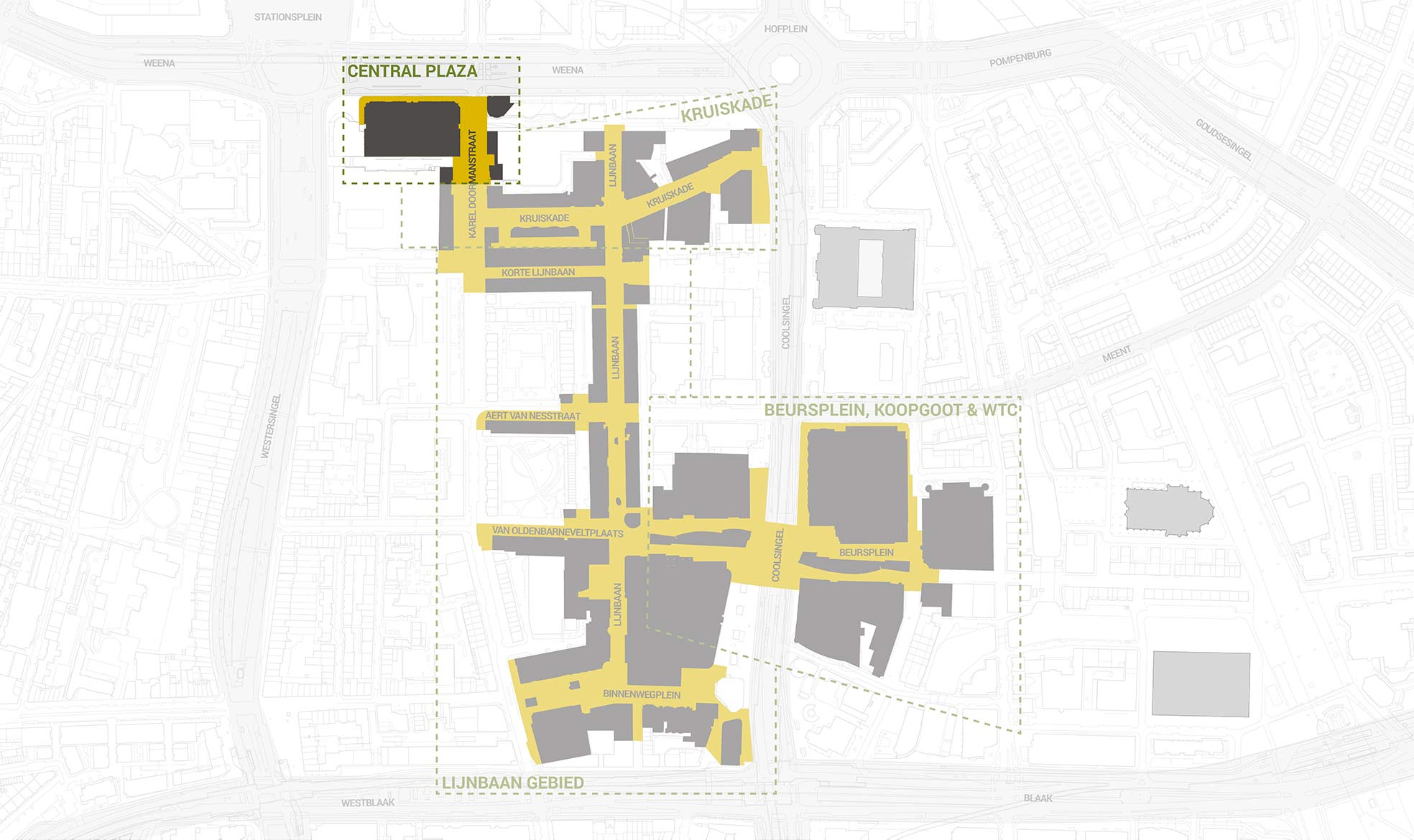 Het deelgebied Central Plaza, uitgelicht in een overzichtskaart van het kernwinkelgebied van Rotterdam Centrum