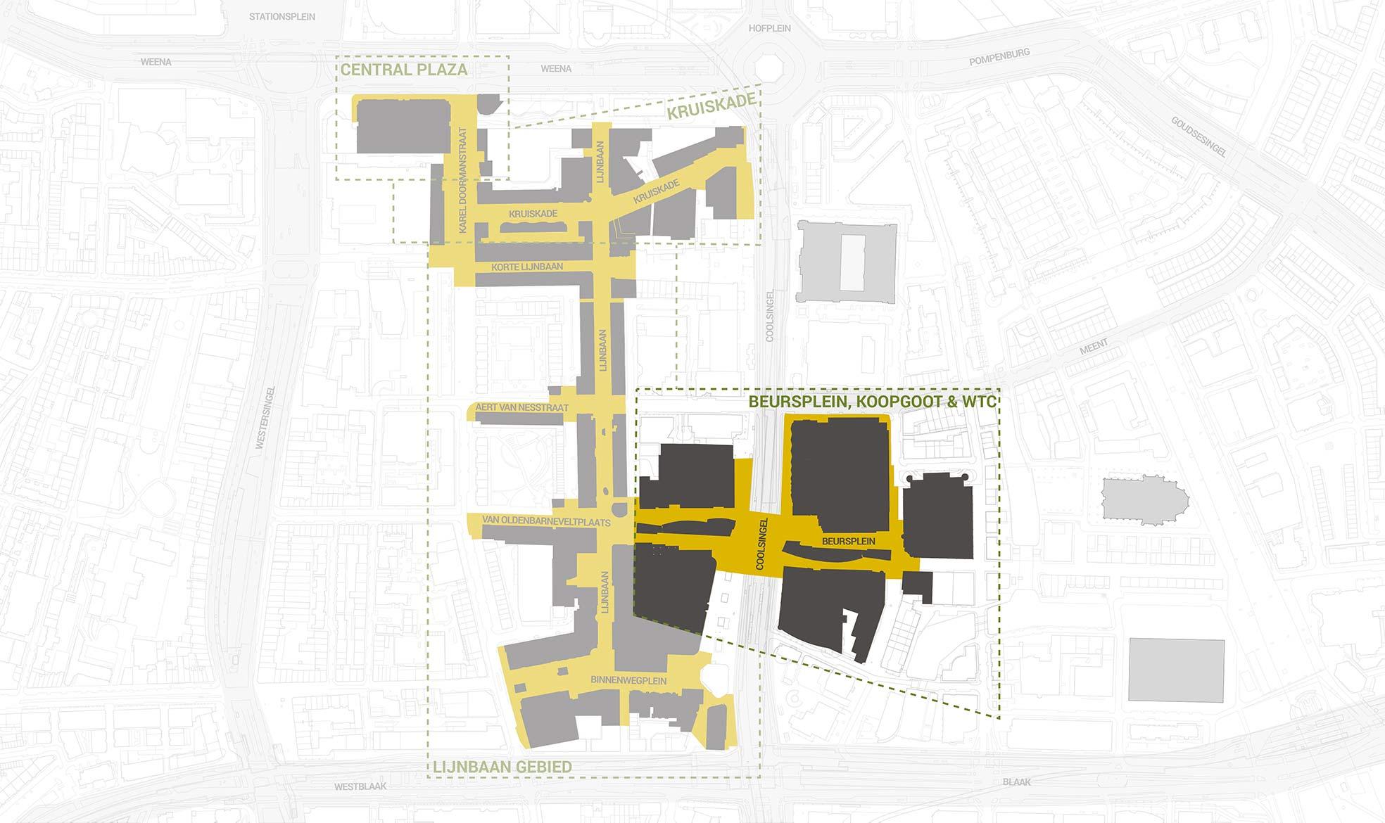 Het deelgebied Koopgoot, Beursplein en WTC Shops, uitgelicht in een overzichtskaart van het kernwinkelgebied van Rotterdam Centrum
