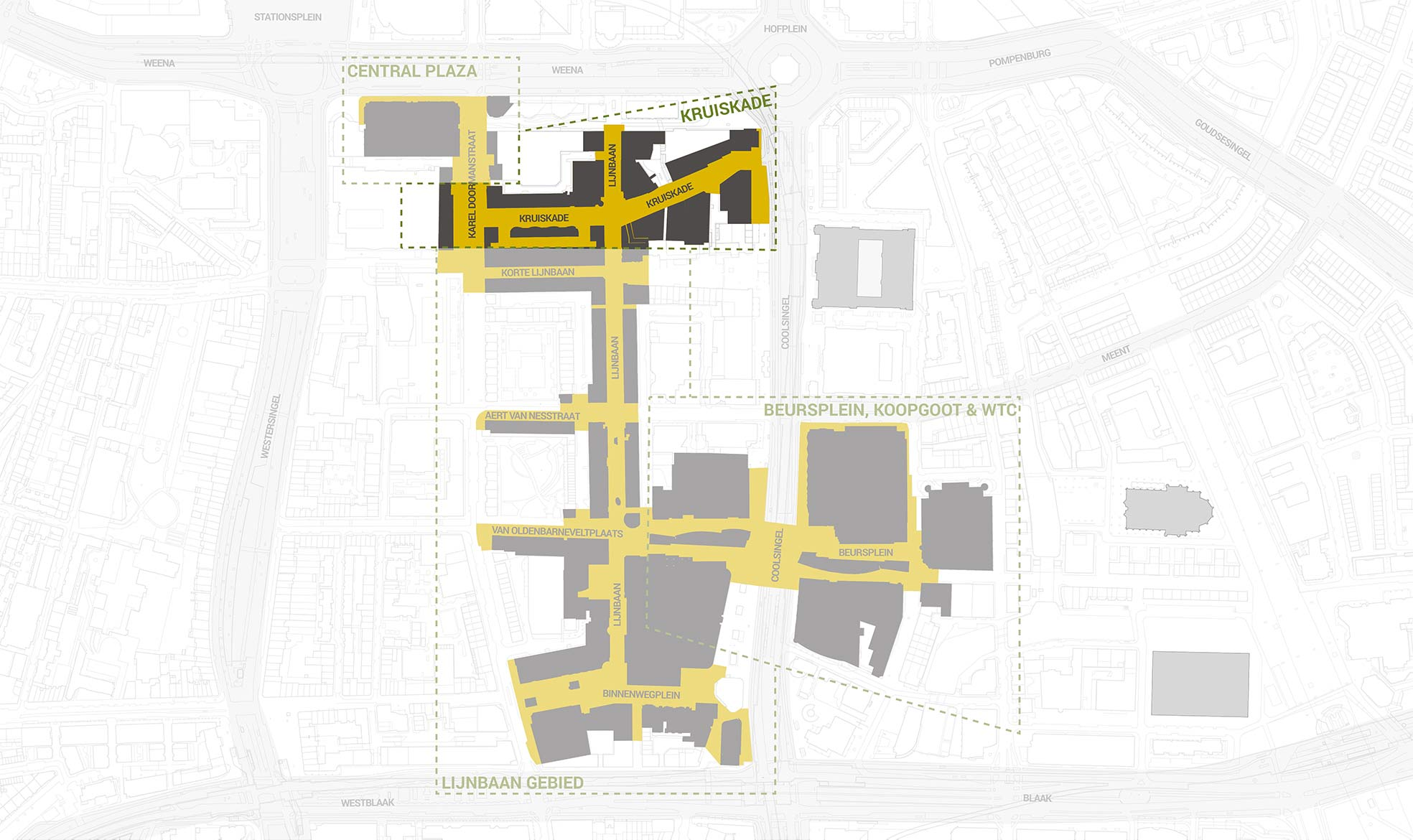 Het deelgebied Kruiskade, uitgelicht in een overzichtskaart van het kernwinkelgebied van Rotterdam Centrum