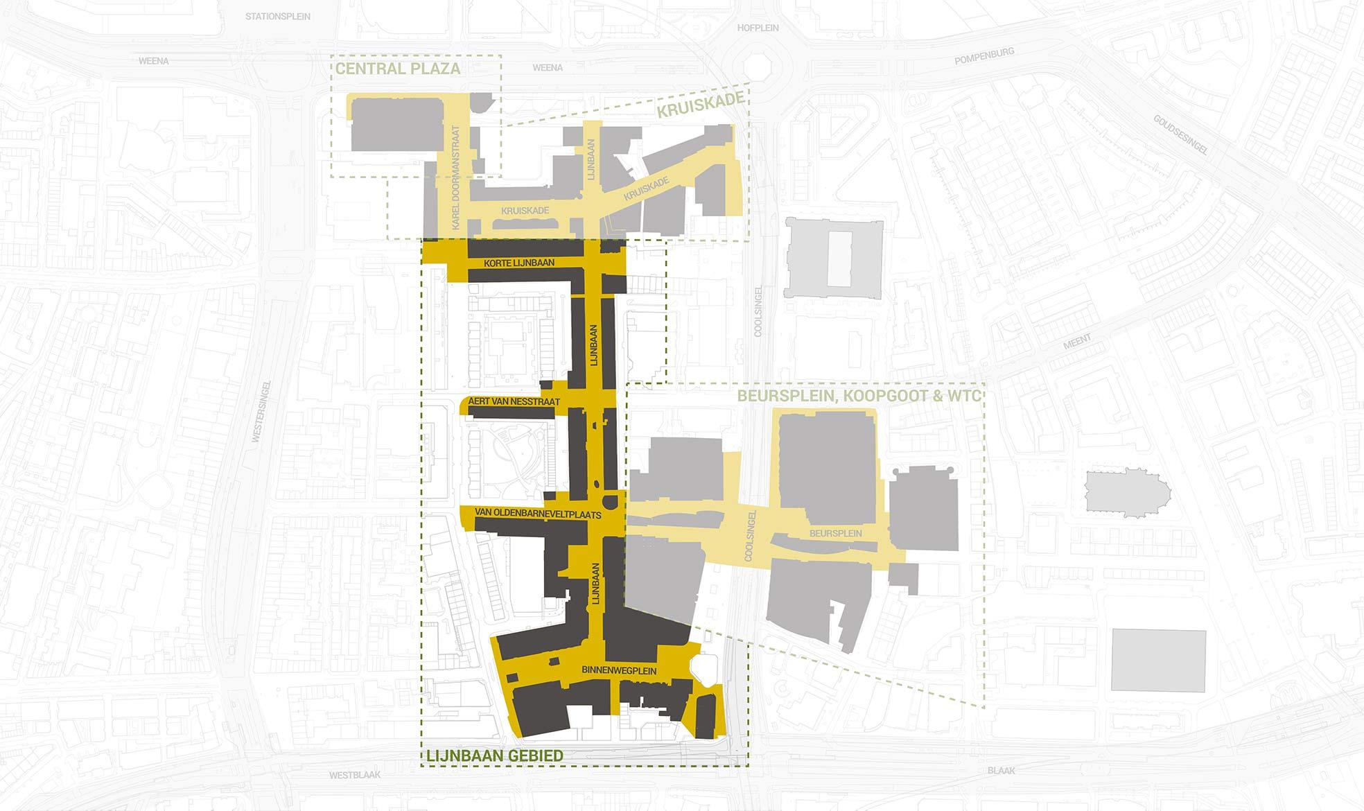 Het Lijnbaangebied, uitgelicht in een overzichtskaart van het kernwinkelgebied van Rotterdam Centrum